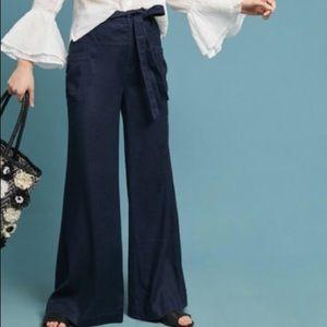 ANTHROPOLOGIE Linen Blend High Rise Wide Leg Pants